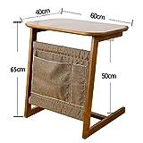 Tische Jcnfa Beistelltisch, 100% Bambus Holz Abnehmbare Snack Ende Couch Konsolentisch mit Aufbewahrungstasche für Bett Sofa Essen Schreiben Lesen Wohnzimmer