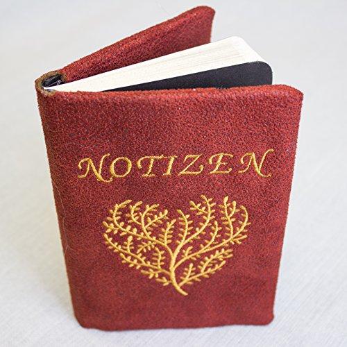 Notizbuch mit hochwertig bestickten Einband, A6, kariert, Organizer, Skizzenbuch, handmade in Germany