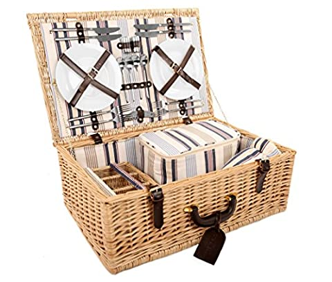 Greenfield Collection Beaulieu Willow Picnic Hamper for Four