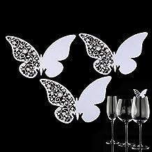 50pcs láser de corte de mariposa de papel de mesa de configuración nombres de tarjetas de lugar para Copa de vidrio Copa Decoración Fiesta Favores Blanco