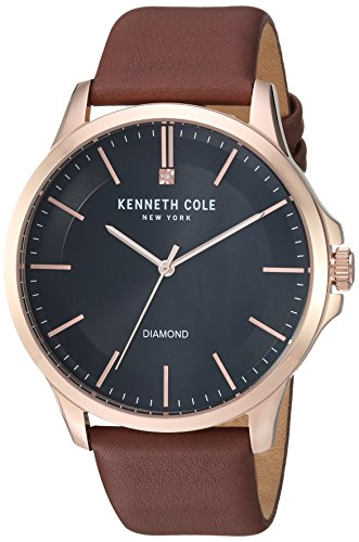 Kenneth Cole New York Men's Quartz Stainless Steel and Leather Casual Watch, Color:Brown (Model: KC50208004)