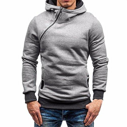 Männer Kapuzen-Sweatshirt,FRIENDGG Herren Herbst Winter Langer Hülse Reißverschluss Kapuzenpulli Beiläufiger Mode Solide Mantel Warm Pullover Outwear Tops Bluse (M, Grau)
