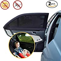 Pare-soleil de voiture fenêtre latérale arrière–Protecteur solaire Auto pour bébés enfants et animaux domestiques–Double Tissu pour plus de protection contre les rayons UV à, Installation Facile, pack de 2unités