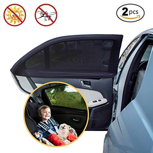 Parasol de coche ventana lateral trasera - Protector solar auto para bebés niños y mascotas - Doble tejido para máxima protección contra rayos UV A, Fácil instalación, Pack de 2 unidades