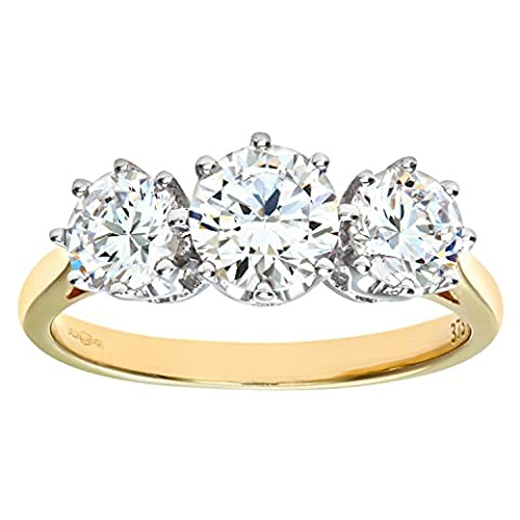 Citerna 9 ct Yellow Gold Cubic Zirconia Three Stone Ring - Size P