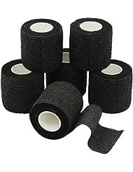 6 Rouleaux de Bandage Cohésive, Gaze Bandage, Bandage Sportif, 5cm x 4.5m - Noir