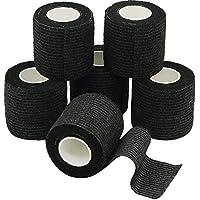 YuMai Adhesivo Vendaje Elástico, 5cm x 6 Rollos, Vendas de Protección, Vendaje Médica - Negro