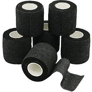 YuMai 6 Rollen Selbsthaftende Bandage, Wundverband, Sport Elastischer Verband, 5cm x 4.5m – Schwarz
