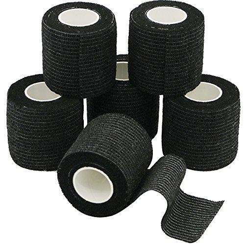 Verbände, Bandagen (6 Rollen Selbsthaftende Bandage, Wundverband, Sport Elastischer Verband, 5cm x 4.5m - Schwarz)