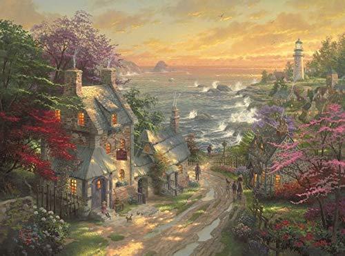 Schmidt Spiele Puzzle 59482 59482-Dörfchen am Leuchtturm, Thomas Kinkade, 3.000 Teile, bunt
