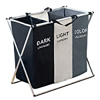 105L Laundry Hamper Sorter Basket Foldable 3 Sections with Aluminum Frame 25.5''×23''H Washing Storage Dirty Clothes Bag for Bathroom Bedroom Home