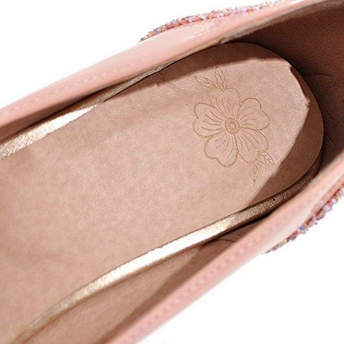 AgooLar Femme Mosaïque Boucle Fermeture D'Orteil à Talon Haut Chaussures Légeres Rose