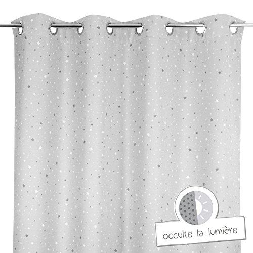 Atmosphera for Kids - Cortina, opaca, con ojales, diseño con estrellas estampadas, para habitaciones infantiles, color gris