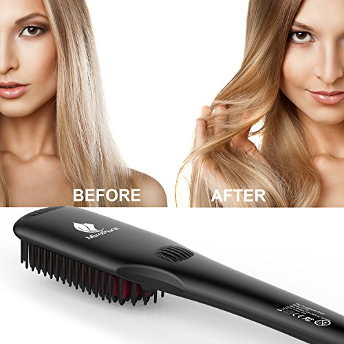 2-in 1 Ionic Hair Straightener Brush MCH Heating Hair Straightening Irons with Free Heat Resistant Glove and Temperature Lock Function