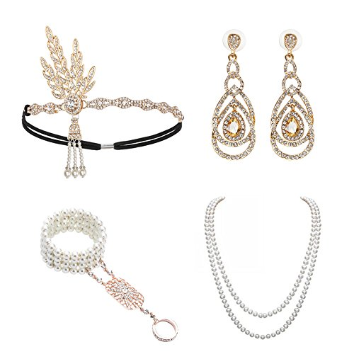 1920s Accessories Set Great Gatsby - For Women Headband Bracelet Pearl Necklace Earring For Party