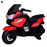 #7: Kidbee Ride On 12V Electric Powered Hand Acceleration Motorcycle Bike with AUX and USB Support Plug - (HZB-118, Red)