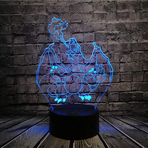 Pokemon Go Actionfigur 3D RGB Lampe,Pikachu Eevee Turtle Vogel Feuer Drache Pokeball Ball Bulbasaur Bay Rolle Geschenk Nachtlicht LED