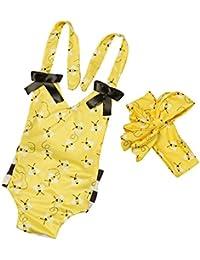Covermason Bebé Niñas Abeja Impresión Mono Bodies y Diademas(1 Conjunto)