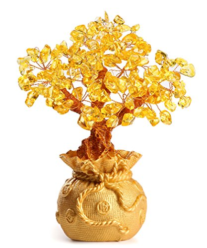 CrazySell 6 inches feng shui Gem Stone Natural money Tree Quartz Green Aventurine Crystal Money Tree Office living room good luck decoration, Yellow