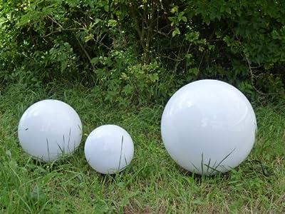 hochwertige Kugelleuchte 3er Set (30+40+50cm) Marlon Außenleuchte Kugellampe mit Erdspieß, E27, Dekoleuchte von Bella-Vita GmbH - Lampenhans.de
