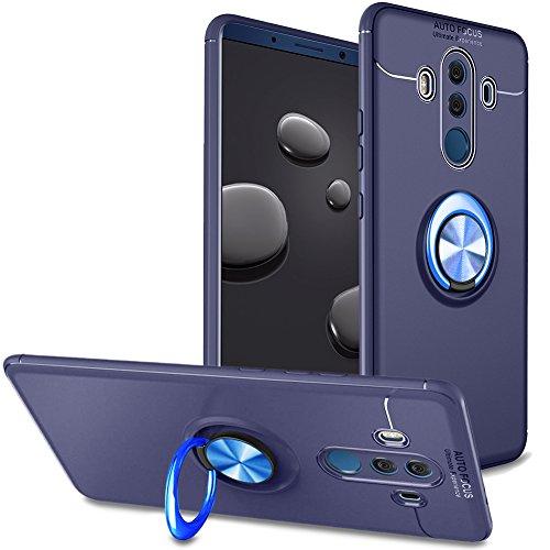 Huawei Mate 10 Pro Hülle Silikon,Huawei Mate 10 Pro Handyhülle Ring Stand,Slynmax Metall 360°Rotation Hülle Magnetic TPU Backcover Silikon Stoßfänger Bumper Schutzhülle für Huawei Mate 10 Pro,Blau