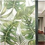 HyFanStr nicht Selbstklebend Glas Aufkleber Sichtschutz Fensterfolie Sichtschutzfolie Frosted Fensterblätter Decor Statische Art Deco 22.8 x 70.8 inches grün