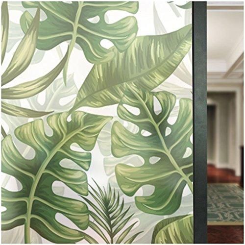 Grünes Glas-türen (HyFanStr nicht Selbstklebend Glas Aufkleber Sichtschutz Fensterfolie Sichtschutzfolie Frosted Fensterblätter Decor Statische Art Deco 22.8 x 70.8 inches grün)