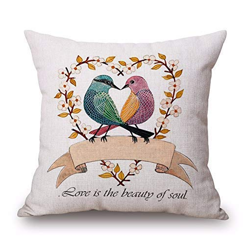 KJDFH Kissenbezug,Love Bird Animal Printed Cotton Pillow Case Decorative Office Home Throw Pillow Cover - Farbton Cotton Liner
