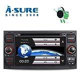 A-SURE 7 Zoll 2 Din DVD GPS Autoradio Navi DVD GPS Radio RDS DAB Mirrorlink für Ford Focus C/S-MAX KUGA Galaxy Fiesta Fusion ZTFF3Q Farbe: Schwarz