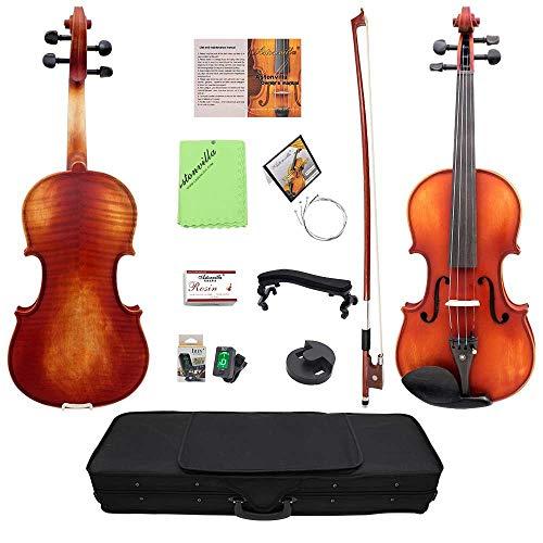 Komplettes Geigen-Set 4/4 Violine in voller Größe mit hartem Gehäuse Bow Tuner Schulterstütze Kinnhalter Ersatzsaiten Kolophonium-Brücke Glänzendes Finish Retro Farbe akustische Violine Starter Kit (E-geige-starter-kit)