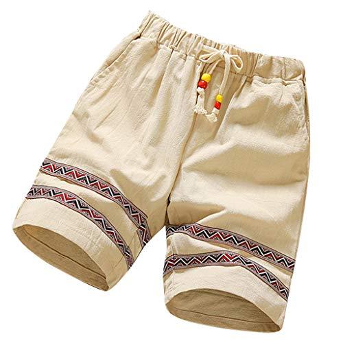 Jogginghose Herren GreatestPAK Herren Basic Shorts Mode Baumwolle Leinen Sommer Neue Bequeme Gestreifte Sportshorts,Khaki,XL - Gestreifte Herren-khaki