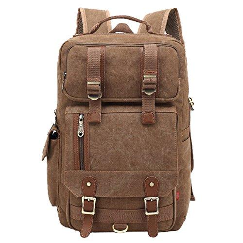 16in Satchel (ADEMI Große Kapazität Rucksack Multi-Funktions-Umhängetasche Herren Tasche Im Freien Konvergieren Tasche,Brown-16Inch)
