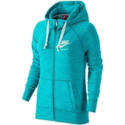 Nike Gym Vintage -Sudadera con capucha, cierre con cremallera, mujer, Gym Vintage Full Zip, Omega Blau/Weiß, S