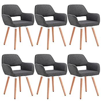 WOLTU Kitchen Dining Chairs Dark Grey Set of 6 pcs Kitchen Counter Office Lounge Living Room Chairs Tub Chairs with Backrests & Armrests
