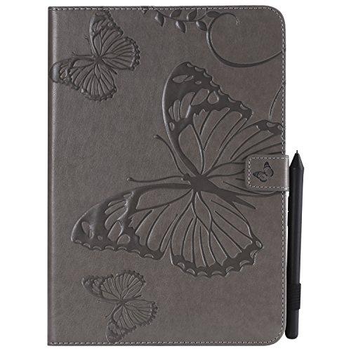MoreChioce kompatibel mit Galaxy Tab A 9.7 Hülle,Dünn Grau Schmetterling Muster Ledertasche Schutzhülle Smart Cover Stand Flip Tablet Case kompatibel mit Galaxy Tab A 9.7 T550 T551,EINWEG