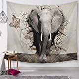 Morbuy Dekoration Wandteppich Elefant, Tapisserie Kreativ Tier Drucken Wandbehang aus Polyster Wandtuch Tischdecke Meditation Yogamatte Strandtuch (Groß (150 x 200cm), Durchbrechen)