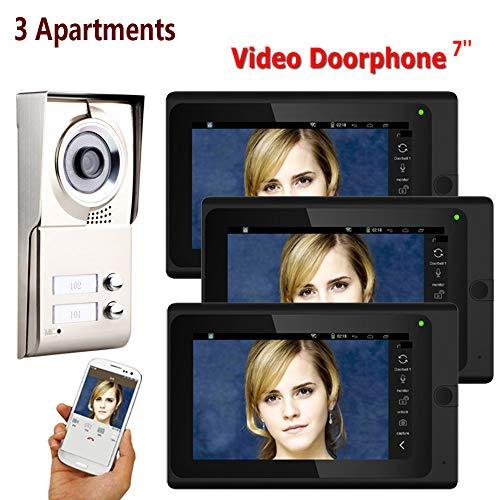 Intelligente Video-Türsprechanlage WiFi Intercom-System Home Security Monitoring Zutrittskontrolle Aufnahme HD Nachtsicht Außenkamera 3 Apartment 3 Button 3 Display 7 Zoll Wasserdicht IOS / Android Remote-video-monitoring-system