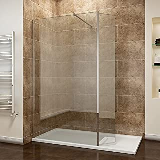 ELEGANT 900mm Walk in Shower Enclosure 8mm Easy Clean Wetroom Shower Screen 300mm Flipper Panel + 1600x900mm Shower Tray Waste
