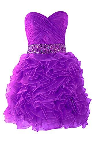 YiYaDawn Kurzes Prinzessin Abschlusskleid Ballkleid Abendkleid für Damen Purpur