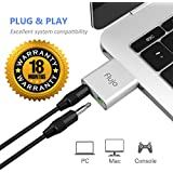Flujo USB Audio Adapter with 3.5mm Stereo Headphones for Windows (Silver)