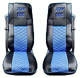 Set von 2Pcs. Hochwertige Truck Sitzbezüge Schutzfolien Kabine Trucker Zubehör Dekor schwarz blau Farbe 100% ECO Leder
