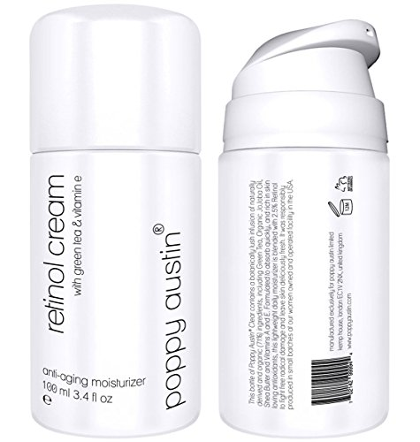 Retinol Cream for Day & Night by Poppy Austin® - TRIPLED SIZED 100ml - Cruelty-Free, 2.5% Retinol, Vitamin E, Green Tea & Shea Butter - Anti Ageing Face Moisturiser & 2018 Best Wrinkle Cream