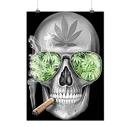 Skeleton Smoke Weed Cool Skull Matte/Glossy Poster A2 (60cm x 42cm) | Wellcoda