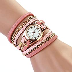 Atdoshop(TM) 1PC Ladies' Elegant Leather Strap Braided Wristwatch winding Rivet Bracelet Watches Pink
