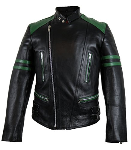MDM Retro Oldschool Lederjacke, schwarz/grün, Motorradjacke, (XL)