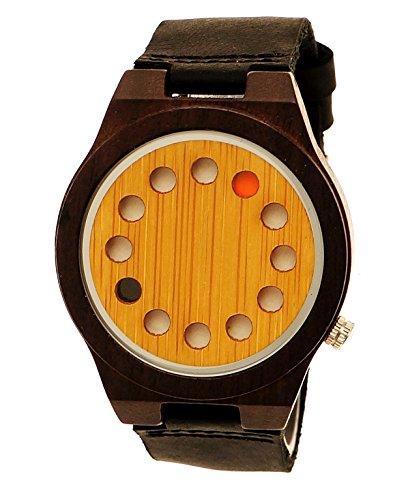 Handgefertigte Holzwerk Germany® Designer Unisex Damen-Uhr Herren-Uhr Öko Natur Holz-Uhr Leder Armband-Uhr Analog Klassisch Quarz-Uhr Future Edition Schwarz Ahorn