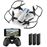 HELIFAR H1 Drone con cámara, Mini Drone con aplicación de WiFi FPV HD 720P, Drone plegable con ángulo de cámara ajustable, Altitude Hold, Tiempo de vuelo 36 minutos con 3 baterías, Regalo para Navidad