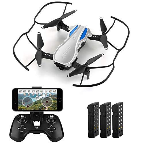 HELIFAR H1 Drone con cámara WiFi FPV 720P HD , RC Quadcopter RTF Altitude Hold, Drone Plegable con ángulo de cámara Ajustable, Sistema Estable 2.4G, Tiempo de Vuelo 36 Minutos con 3 baterías