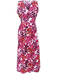 Women All Over Floral Pattern V Neck Crossover Maxi Dress