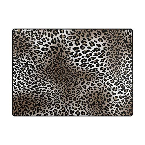 Mnsruu - Alfombra de área Grande 203 x 147 cm, diseño de Leopardo, Ligera, Antideslizante, para Sala de Estar, Dormitorio o casa